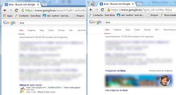 Este es un ejemplo en Chrome. La ventana de la izquierda está abierta usando mi sesión. El logotipo de mi web aparece en mis resultados. En la ventana de la derecha, en modo incógnito, aparecen los resultados reales según mi ubicación.